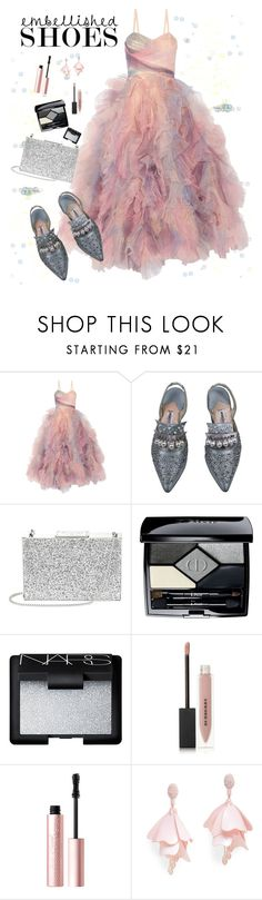 """""""Senza titolo #6080"""" by waikiki24 ❤ liked on Polyvore featuring Marchesa, Manolo Blahnik, Aspinal of London, Christian Dior, NARS Cosmetics, Burberry, Too Faced Cosmetics and Oscar de la Renta Pink Label"""
