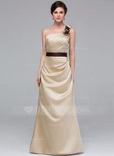 A-Linie/Princess-Linie One-Shoulder-Träger Bodenlang Satin Brautjungfernkleid mit Schleifenbänder/Stoffgürtel Blumen (007037241) - JJsHouse