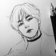 A fool's brain digests philosophy into folly, science into superstition, and art into pedantry. Hence University education. Kpop Drawings, Pencil Art Drawings, Art Sketches, Taehyung Fanart, Kpop Fanart, Art Sketchbook, Korean Art, Fan Art, Art Inspo