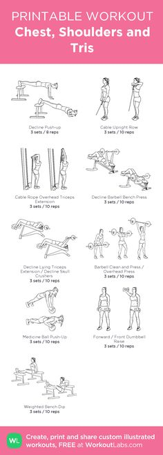 Chest, Shoulders and Tris:my visual workout created at WorkoutLabs.com • Click through to customize and download as a FREE PDF! #customworkout