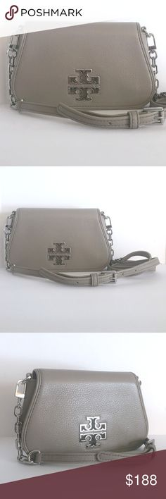 Tory Burch Britten Mini Bag French Grey Crossbody Defined by a clean, versatile shape punctuated with a cut-out double-T logo, the Britten Mini Cross-Body is made of soft pebbled leather. It's perfect for everyday wear and can also be carried as a clutch or used as a wallet when you remove the  strap.    Leather Exterior Gold Tone Hardware 3 slots for credit cards Interior fits an iPhone 6, lipstick and a makeup compact Fold-over flap with magnetic snap closure Removable cross-body leather…
