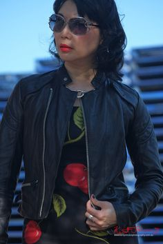 Industrial area photoshoot with an empahasis on blue red and black. Marrickville Sydney, Cherry Dress, Leather Jacket, Sunglasses, with Fashion Blogger vivalaViv. Photographed by Kent Johnson.