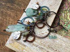 Roman Glass . Rustic earrings n78 . tribal earrings . bohemian