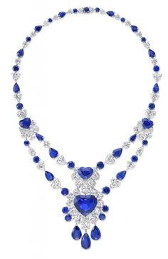 Graff Diamonds necklace with 27.30 cts heart-shaped sapphire and diamonds