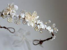 Wedding Flower Crown Crystals and Pearls Bridal Tiara  by deLoop, $100.00
