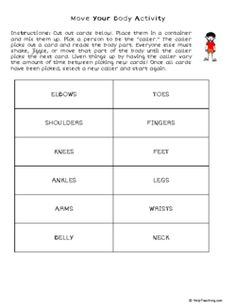 Move Your Body Activity (Grade - Free Printable Tests and Worksheets Move Your Body, Help Teaching, Grade 1, Phonics, Jun, Fingers, Worksheets, Free Printables, Activities