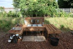 """A mud kitchen made from pallets - from Fazeley Pre-school ("""",)"""