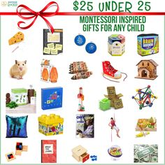 Not sure what to tell relatives when they ask you for your child's #HolidayWishList ? Are you trying to avoid meaningless toys that become clutter and dust collectors after Christmas? Check out these 25 under $25 #MontessoriInspiredGifts for various ages. #MontessoriRocks