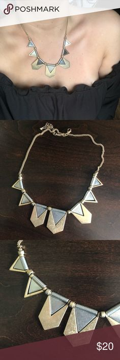 Aztec metal gold and silver necklace Gorgeous metal gold and silver Aztec style statement necklace from Aldo, perfect condition!! Bundle with my other Aldo necklaces for an even better price! 2 for $30 or 3 for $45 and receive free shipping! Aldo Jewelry Necklaces