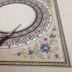 Tezhip corner and circular border pattern Islamic Art Pattern, Pattern Art, Border Pattern, Illumination Art, Persian Motifs, Arabic Art, Turkish Art, Calligraphy Art, Illuminated Manuscript