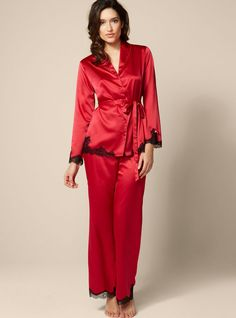Red satin and lace pyjamas by Boux Avenue