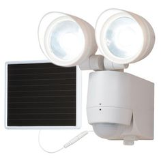 LED Solar Flood Light, Twin-Head, 130-Degree Motion, White: Model# MST1301LW | True Value