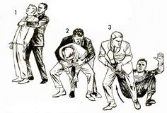 How to break a bear hug This defense works as well against an overarm grip as against an underarm one (fig. 1). With your feet apart, bend your knees, stoop down, and grab your assailant's right ankle with both hands (fig. 2). Pull his ankle forward and upward to throw him on his rump (fig. 3).