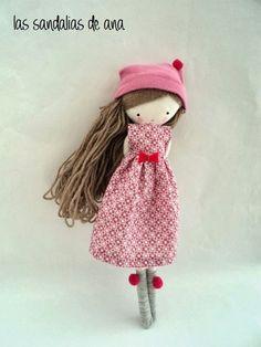 :: Crafty :: Cloth Doll :: 2 :: Isabella, rag doll - cloth art rag doll pink dress, socks and hat Pretty Dolls, Cute Dolls, Beautiful Dolls, Doll Crafts, Diy Doll, Fabric Toys, Sewing Dolls, Soft Dolls, Felt Toys