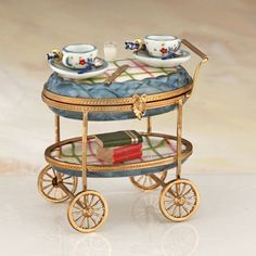 Limoges breakfast with books cart box