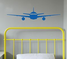 This Aeroplane wall sticker can be made to go over a double bed too! Removable wall decals are a great way to update your walls if you rent. https://www.moonfacestudio.com.au/product-page/aeroplane-wall-sticker
