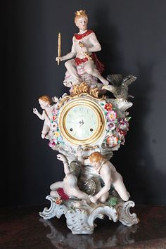 "RARE Large Dresden Porcelain Figurine "" Fallen Angel"" German Clock Marked   eBay"