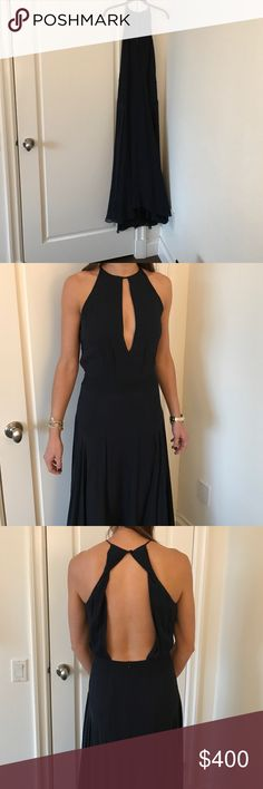 Theory dress Navy chiffon, high/low, open back, keyhole neck, halter. Worn once. Theory Dresses High Low