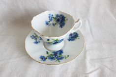 Vintage Interco Chicago Blue Floral Tea Cup and Saucer Made in Japan by GRCTreasures on Etsy