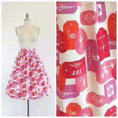 Sweet airline tag print skirt made out of vintage 50s fabric. Crisp white background with pink, purple, orange and red airline travel bag tag print all over. Side metal zipper and button closure. Custom made to your size using authentic DEADSTOCK 50s fabric. Please specify your size when ordering. Medium weight woven cotton fabric.  | c o n d i t i o n | good - colors are vibrant and like new! there are a couple of light spots. see last photo for reference  | m e a s u r e m e n t s | custom…