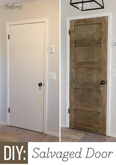 Step by step - how to turn a basic builder grade door into an old wood salvaged door! Sometimes old wood doors are hard to find! Inexpensive Home Decor, Cheap Home Decor, Diy Home Decor, Room Decor, Home Upgrades, Home Renovation, Home Remodeling, Cheap Remodeling Ideas, Kitchen Remodeling