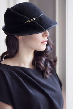 Felt Day Hat, Velour Winter Cloche, Warm Classic Millinery Style, Made to Measure - Safran