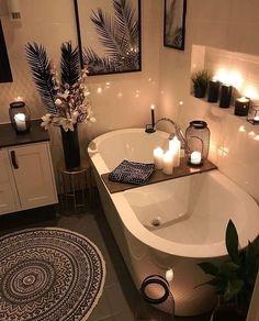 Home Interior Design - Cozy Bathroom # .- Home Interior Design – Gemütliches Badezimmer Home interior design – cozy bathroom - Cozy Bathroom, Bohemian Bathroom, Modern Bathroom, Scandinavian Bathroom, Bathroom Candles, Rental Bathroom, Minimal Bathroom, Bath Candles, Palm Tree Bathroom