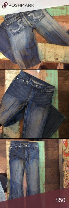Rock and Republic Jeans, Size 25.  Boot cut. Worn once.  These are in great shape.  Brightly colored Sparkly pockets. Rock & Republic Pants Boot Cut & Flare