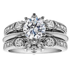 Sterling Silver 1ct Cubic Zirconia Solitaire Wedding Ring and Fancy Guard Set (Sterling Silver, Size 11.5), Women's, White