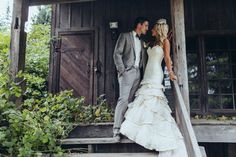 Real Wedding couple pose on porch