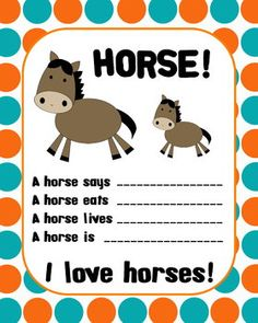 FREEBIE!! This is a cute page used to get kids to think creatively about different animals, in this case horses.