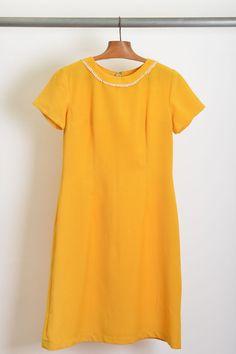 vestido algodão / debrum gola / anos 60' / tam.P/40 / ♥ 80,