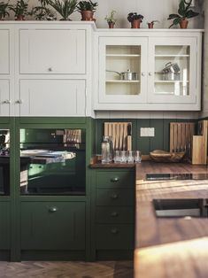 green and white cabinets