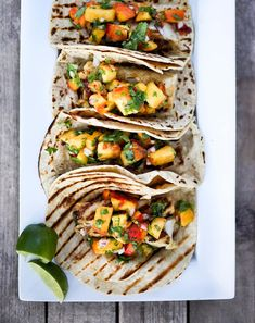 Chipotle Fish Tacos with Cilantro Peach Salsa | Feasting At Home