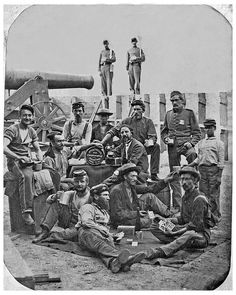 Federal Troops playing cards on Federal Hill during the American Civil War. Baltimore, Md. c1864