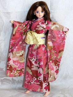 """JENNY TAKARA DOLL with KIMONO 16+3 Back of head: 8K3  On Her Back: Takara Japan  10.5"""" tall"""