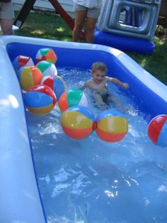 Blow-up Pool with Beach Balls add ice for polar bear plundge game for big kids Summer Birthday, Birthday Fun, First Birthday Parties, Birthday Party Themes, First Birthdays, Beach Ball Birthday, Birthday Ideas, Pool Party Themes, Party Ideas