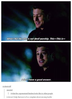 What the Supernatural fandom looks like to other people :) (4x15 Death Takes A Holiday)