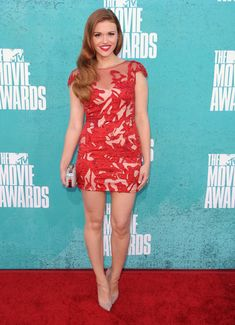 Holland Roden of MTV's 'Teen Wolf' photographed on the red carpet at the 2012 MTV Movie Awards in Los Angeles.