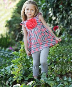 Look what I found on #zulily! Coral Hearts in Bloom Tunic & Leggings - Toddler & Girls #zulilyfinds