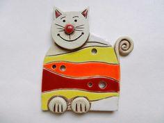 Ceramic cat ceramic clay cat wall decoration by potteryhearts