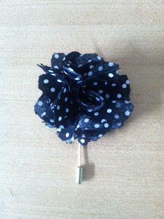 polka dot flower lapel pin