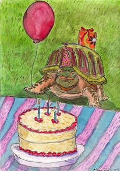 Birthday Turtle Art Print by Veroniquelatimer on Etsy, $20.00