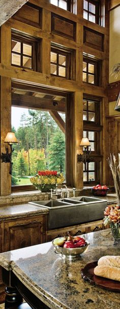 View rustic kitchens designed by the best rustic interior designers. From farmhouse kitchens to log homes and cabins with rustic kitchen ideas & tips. Rustic Kitchen Design, Farmhouse Style Kitchen, Rustic Design, Country Kitchen, Log Home Kitchens, Rustic Kitchens, Grey Kitchens, Log Cabin Living, Cheap Wall Decor