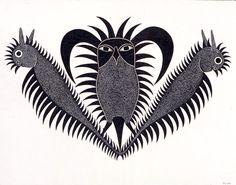 Spirit Owl with Protectors by Kenojuak Ashevak, 2004