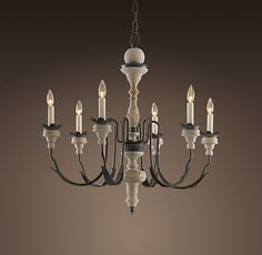 Parisian Wood & Zinc 6-Arm Chandelier | Chandeliers | Restoration Hardware  For the sunroom.