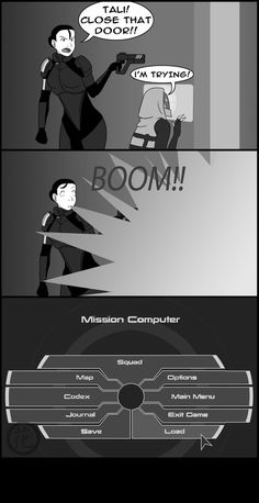 """ME2: Reload by *hanaraad on deviantART. One of the great things about a game...the """"Load"""" option."""