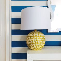 Ella Scott Design | Bethesda, MD | Cool Blue + Moonlight White. They were just destined to be together.   #benjaminmoore #paint #girlsbedroom #stripedwalls #stripes #coolblue #moonlightwhite #kidsdecor
