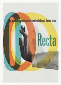 Recta, cover of the specimen book by Aldo Novarese (1958)