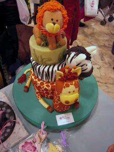 stacked jungle animal cake